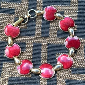 Vintage Gold Red Enamel Circle Disc Link Bracelet